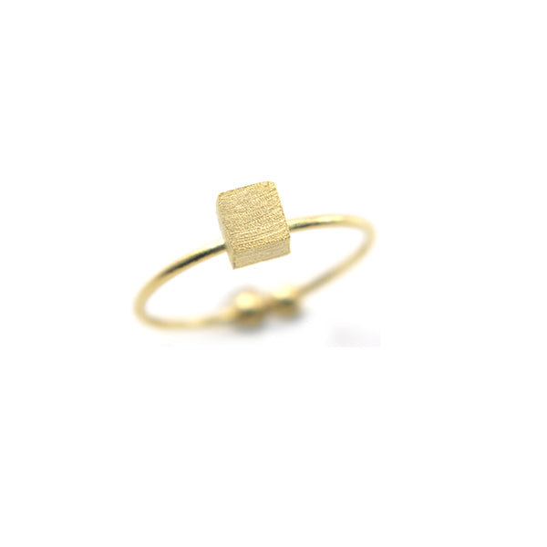 Solid cube Gold Ring