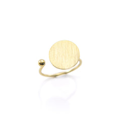Solid Circle & Mini Ball Gold Ring