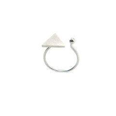 Solid Triangle & Mini Ball Silver Ring