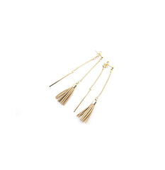 Long Chain With Brown Leather Tassel Gold Pierced Earrings