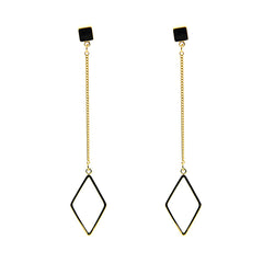 Long Chain With Cutout Diamond & Square & Hexagon 3 Pieces Gold Set Earrings
