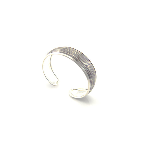 Horizontal Line Brushed Oxidized Sterling Silver Bangle