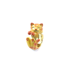 Single Cat Brown Ring