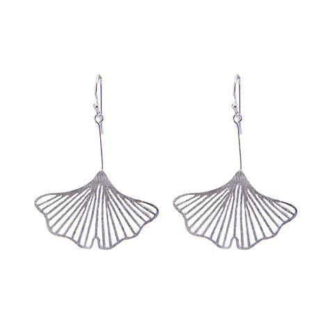 Big Cutout Ginkgo Sterling Silver Earrings