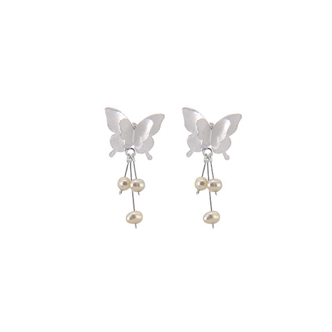 Butterfly with Pearl Tails Sterling Silver Earrings
