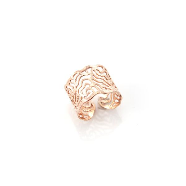 Cutout Wavy Pattern Rose Gold Sterling Silver Ring