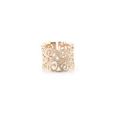 Cutout Swirl Pattern Rose Gold Sterling Silver Basic Ring