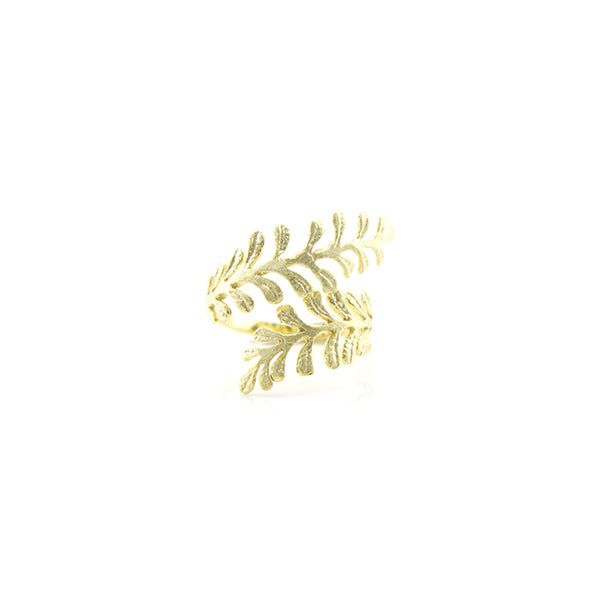 Cystopteris Bulbifera Gold Sterling Silver Ring