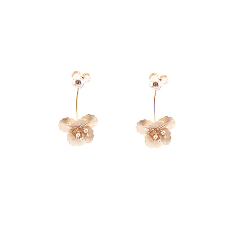 Hanging Eschscholzia Rose Gold Sterling Silver Earrings
