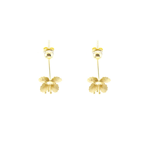Hanging Eschscholzia Gold Sterling Silver Earrings
