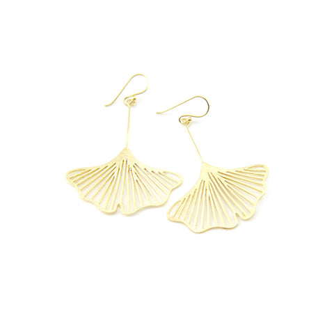 Big Cutout Ginkgo Gold Sterling Silver Earrings