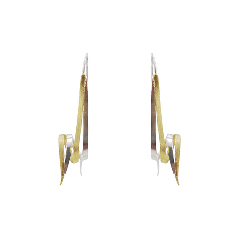 Looped Duo Line Knots Gold Sterling Silver Pull-Thru Earrings