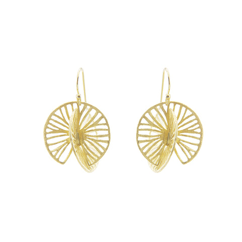 Cutout 3D Twisted Sphere Gold Sterling Silver Earrings