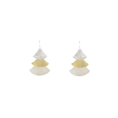 Trio Ascending Fan Gold Sterling Silver Earrings