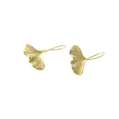 Mini Ginkgo Leaf Gold Sterling Silver Earrings