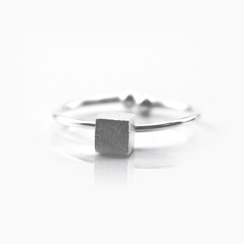 Solid cube Silver Ring