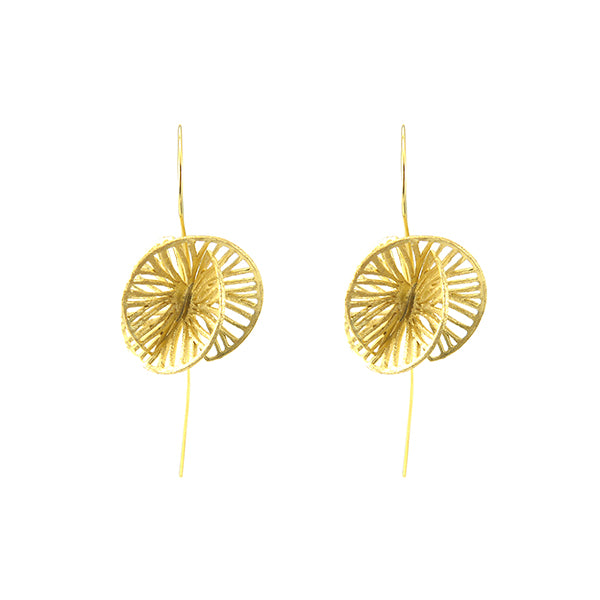 Cutout 3D Twisted Sphere Gold Sterling Silver Pull-Thru Earrings