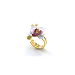Phalaen Flower White Ring