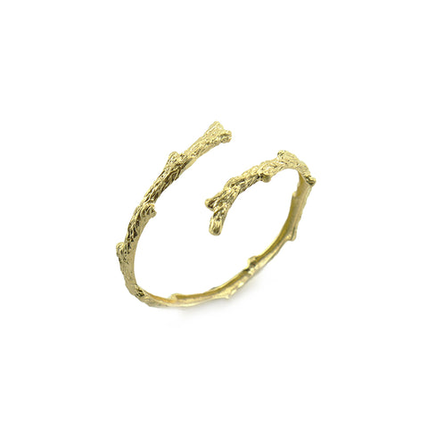 Thin Branches Gold Sterling Silver Bangle