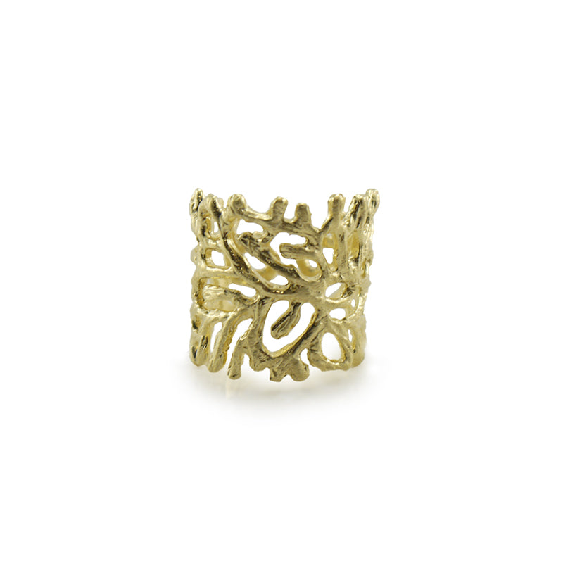 Coral Gold Sterling Sliver Ring