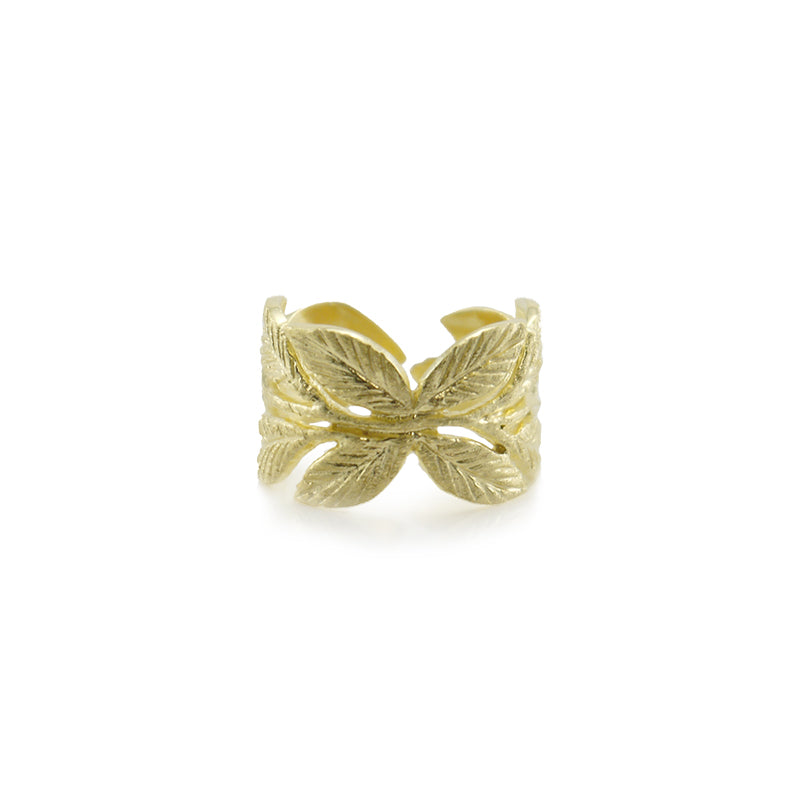 Butterfly Leaf Gold Sterling Sliver Ring