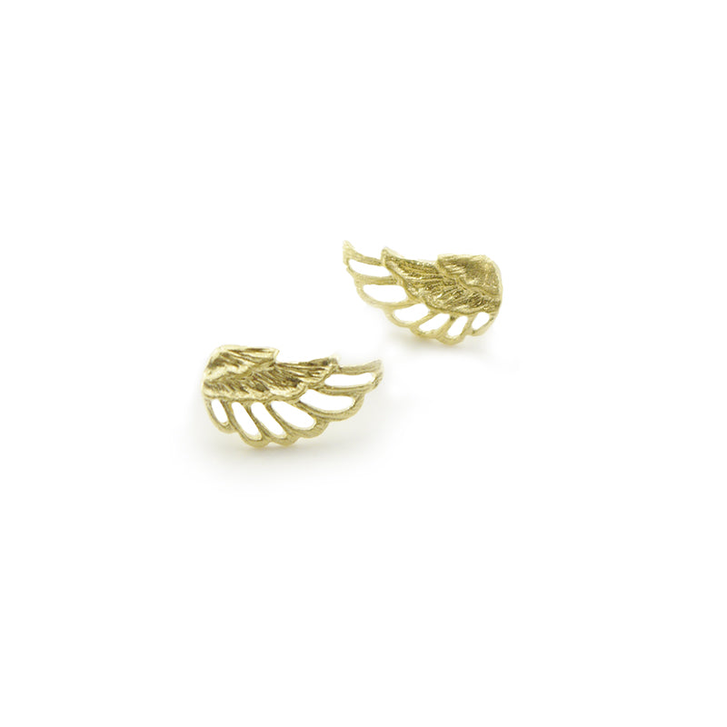 Cutout Wings Gold Sterling Sliver Studs