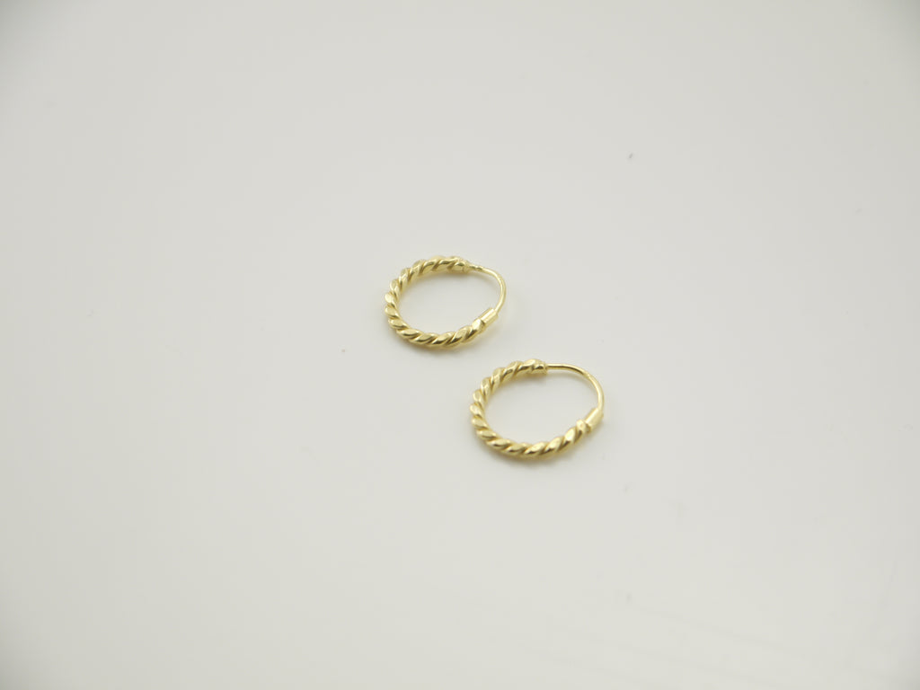 Twisted Circle Gold Sterling Sliver Earrings