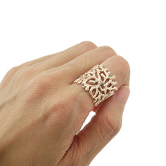 Coral Rose Gold Sterling Sliver Ring