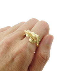Plum Branch Leaf Gold Sterling Silver Ring