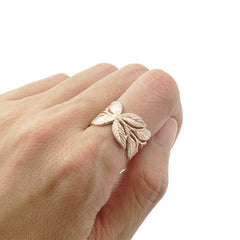 Butterfly Leaf Sterling Rose Gold Ring