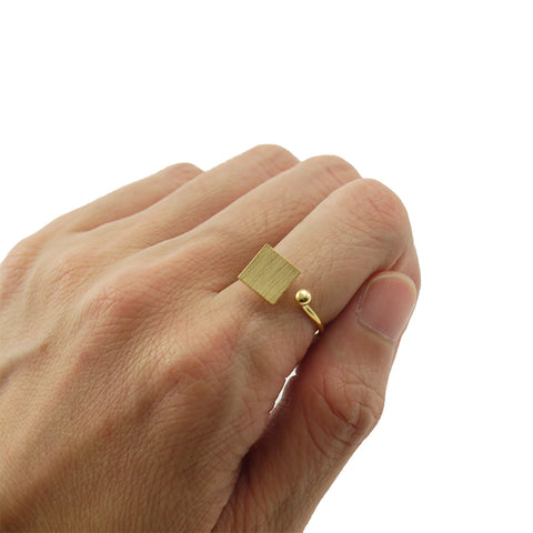 Solid Square & Mini Ball Gold Ring