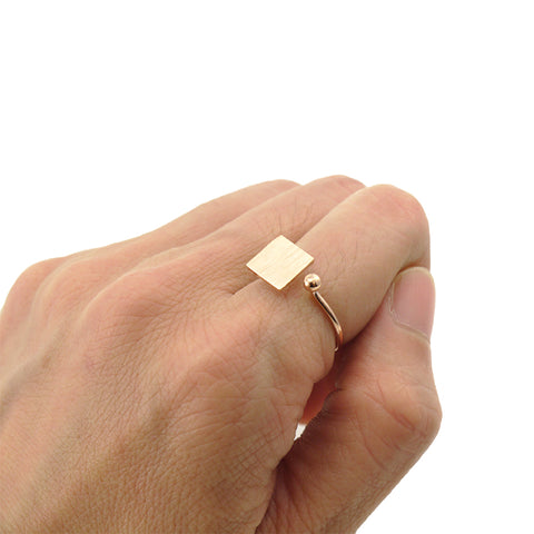 Solid Square & Mini Ball Rose Gold Ring