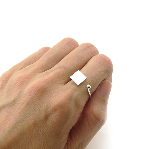 Solid Square & Mini Ball Silver Ring