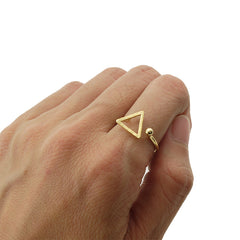 Cutout Triangle & Mini Ball Gold Ring