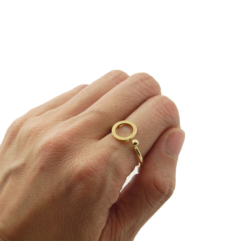 Cutout Circle & Mini Ball Gold Ring
