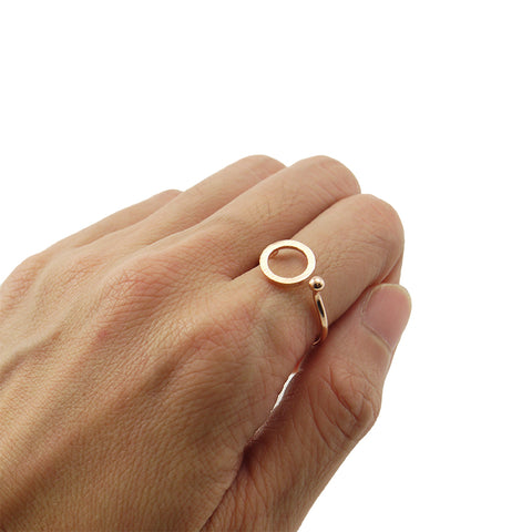 Cutout Circle & Mini Ball Rose Gold Ring