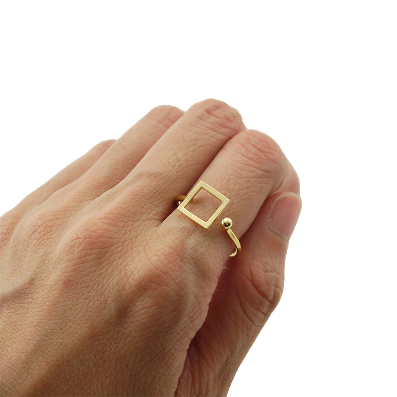 Cutout Square & Mini Ball Gold Ring