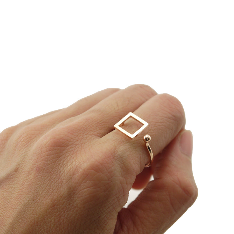 Cutout Square & Mini Ball Rose Gold Ring