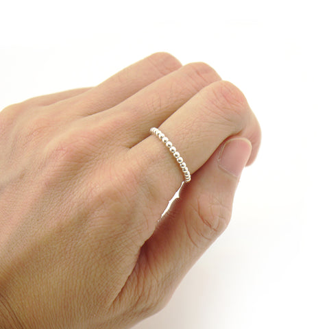 Basic Tiny Round Ball Sterling Silver Ring