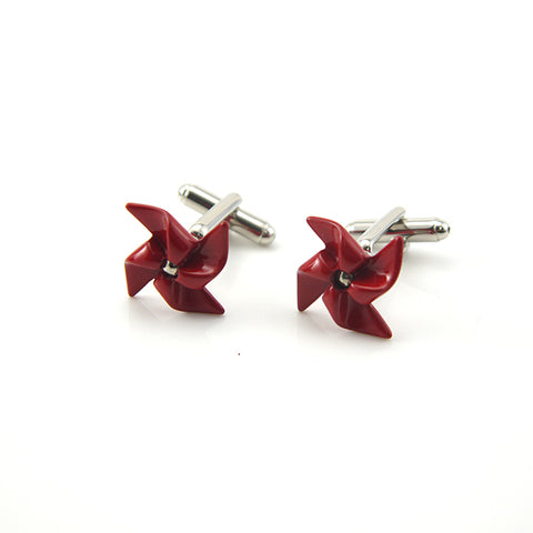 Red Rotatable PinWheel Cufflinks