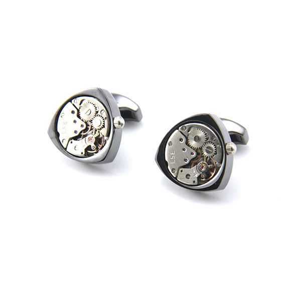 Triangle Mechanical Watch Black Cufflinks