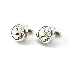 Triangle Mechanical Watch Silver Cufflinks