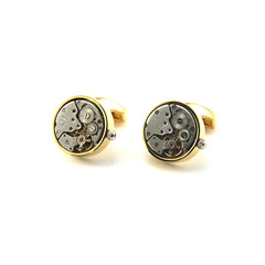 Round Mechanical Watch Gold Cufflinks