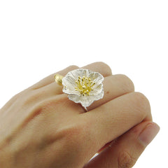 Morning Glory Gold Sterling Sliver Ring