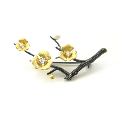 Gold Plated Flower On Black Branch Sterling Sliver Brooch