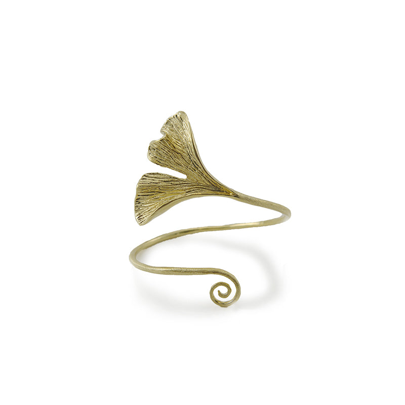 Gingko Leaf Gold Sterling Sliver Bangle