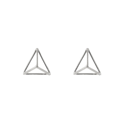 3D Cutout Triangle Sterling Sliver Studs