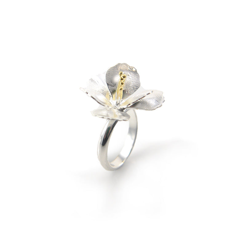 Big Eschscholzia Sterling Silver Ring
