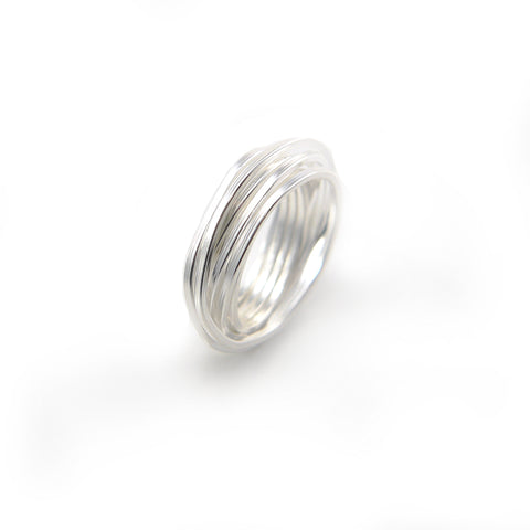 Thin Multi-line Sterling Sliver Ring