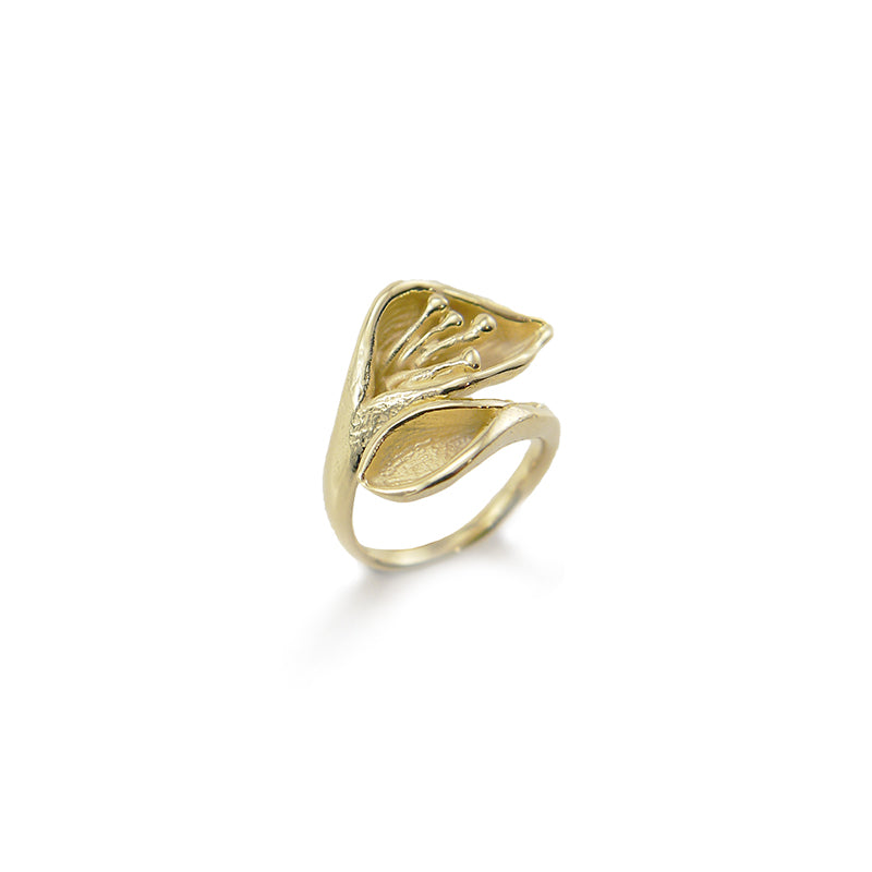 Flower Bud Gold Sterling Sliver Ring
